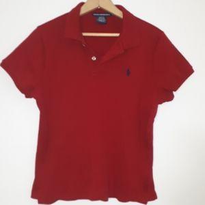 Ralph Lauren Sport Polo Shirt Red Girls Sz XL Slim